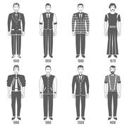 Men Fashion Black White Evolution Icons Set Stock Illustration