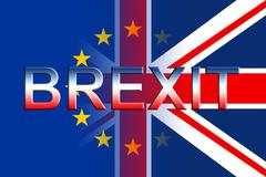 Brexit Flags Means Kingdom Britain Politics And Remain - stock illustration