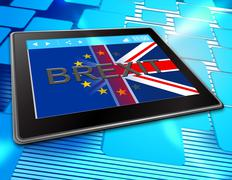 Brexit Tablet Shows Britain Web Www And Eu Stock Illustration