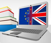 Brexit Laptop Indicates Britain Decision Www And Vote Stock Illustration