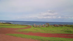 Landscape of the Easter Island and Pacific Ocean, Chile Stock Footage