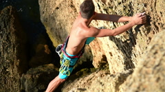 Extreme Climber With Equipment Climbs On A Ro Stock Footage