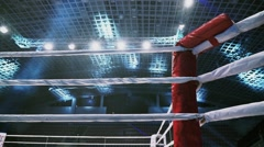 Flight Along Ropes of a Boxing Ring in the Sports Arena Stock Footage