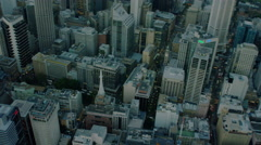 Aerial view of Skyscraper city buildings Downtown Highway Sydney Stock Footage
