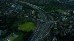 Aerial view of city buildings Downtown Highway Intersection Sydney Stock Footage