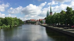 The Trave river around the old town of Lübeck Stock Footage