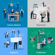 Factory Workers 2x2 Compositions - stock illustration