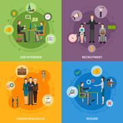 Recruitment HR People 2x2 Icons Set Stock Illustration