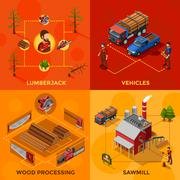 Lumberjack 2x2 Isometric Design Concept Stock Illustration