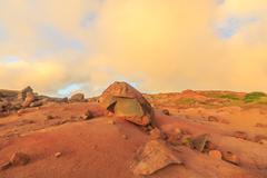 Kaehiakawaelo (Garden of the Gods), landscape of red dirt,  lava and rock Stock Photos