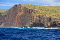Rugged cliffs and shoreline on the South Shore of Lanai, Hawaii, USA - stock photo