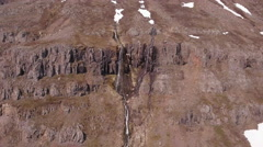 Aerial Waterfall From Hughe Cliff In Seyðisfjörður Iceland Stock Footage