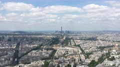Paris And Eiffel Tower From Top Of Montparnasse Tower, 4K Stock Footage