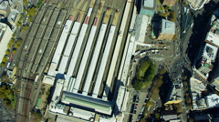 Aerial view of city Rail station Downtown Sydney Australia Stock Footage