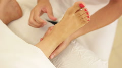Top view of foot massage - stock footage