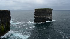 Dun Briste, Downpatrick Head, Ballycastle, Mayo, Connacht, Ireland Stock Footage