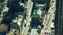 Aerial view of Queen Victoria Building Downtown Sydney Stock Footage