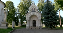The tomb of Prince Pozharsky in Saviour Monastery of St Euthymius. Suzdal Stock Footage