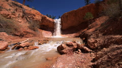 Waterfall Bryce Canyon Mossy Cave trail Stock Footage