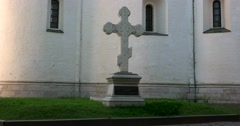 The stone cross on the graves of the Pozharsky family in Monastery. Suzdal Stock Footage
