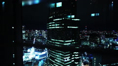 Tokyo view from elevator at night #1 - stock footage