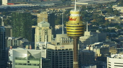 Aerial view of Centrepoint Tower Skyscraper Downtown Sydney Stock Footage