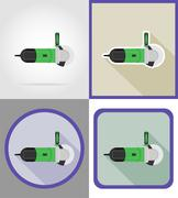 Electric grinder tools for construction and repair flat icons vector illustra Stock Illustration