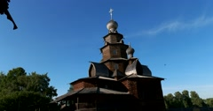 Transfiguration Church  in the Museum of wooden architecture. Suzdal Stock Footage