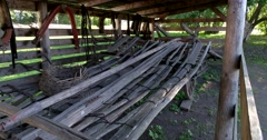 Old harness and trappings in the Museum of wooden architecture. Suzdal Stock Footage