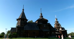 Resurrection and Transfiguration Churches  in the Museum of wooden architecture - stock footage