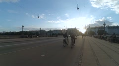 People on the street rides bicycle. Copenhagen, Denmark. Shot in time lapse Stock Footage