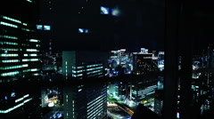 Tokyo view from elevator at night #2 Stock Footage