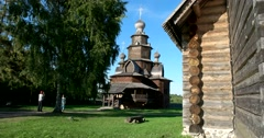 Resurrection Church. 1776. Museum of Wooden Architecture. Suzdal - stock footage