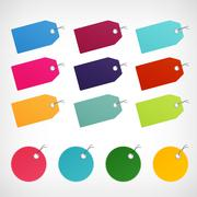 blank color price discount labels vector stickers - stock illustration