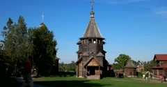 Resurrection Church. 1776. Museum of Wooden Architecture in Suzdal Stock Footage