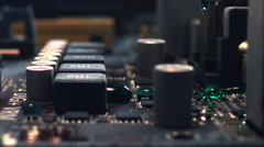 Green liquid floods a computer's motherboard. Slow motion. Stock Footage