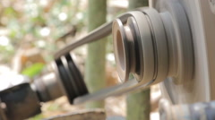Close-up of rubber belt of working pushcart Stock Footage