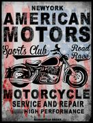 Motorcycle typography; t-shirt graphics; vectors Stock Illustration