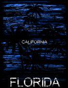 Summer tee graphic design florida california - stock illustration