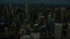 Aerial view of city buildings Downtown Sydney Australia Stock Footage