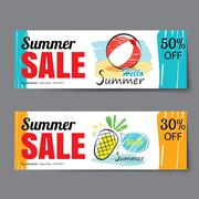 Summer sale voucher template.Discount coupon. Banner hand drawn flat design Stock Illustration