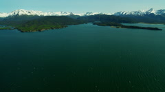 Aerial view of mountains and Kachemak Bay Alaska Stock Footage