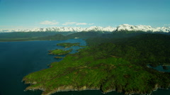 Aerial view of barren wilderness of Kachemak Bay Alaska USA Stock Footage