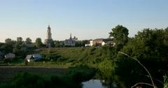 Views of the river Kamenka and Venerable belfry. Suzdal Stock Footage