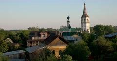 View of the old houses. The Golden ring of Russia. Suzdal Stock Footage
