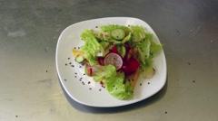 Fresh greens salad making time lapse. Stock Footage