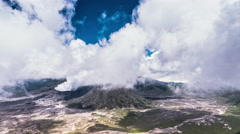 Adventure and travel background. Volcanic landscape of mount Bromo in Java Stock Footage