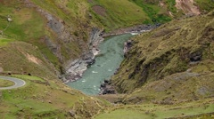 PERU: twisting road with River Apurimac in Andes Stock Footage