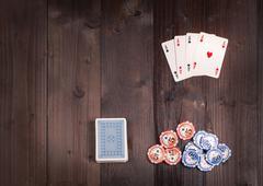 Four aces vintage poker Stock Photos