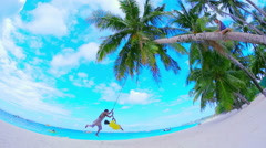 Children play on beach under palm trees in Boracay island. Travel destination - stock footage